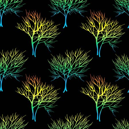 healing: Vegetable seamless pattern with dill isolated in hand drawn sketch style on black background Stock Photo