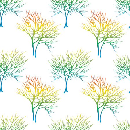 healing: Vegetable seamless pattern with dill isolated in hand drawn sketch style on white background
