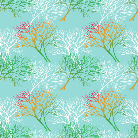 healing: Vegetable seamless pattern with white dill isolated in hand drawn sketch style on blue background