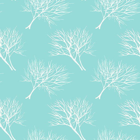 healing: Vegetable seamless pattern with white dill, isolated in hand drawn sketch style on blue background