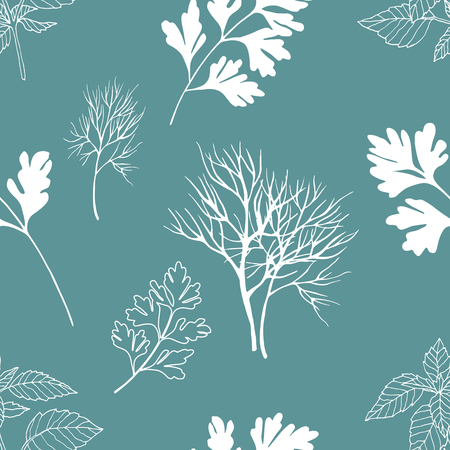 healing: Vegetable seamless pattern with white dill, basil and parsley isolated in hand drawn sketch style on blue background