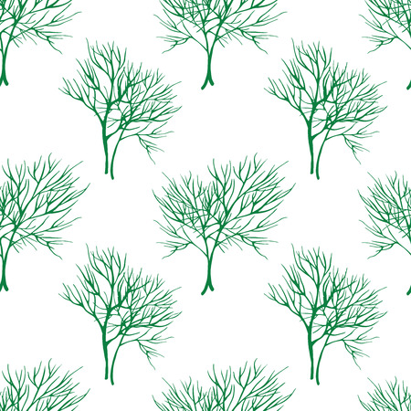 healing: Vegetable seamless pattern with dill, isolated in hand drawn sketch style on white background