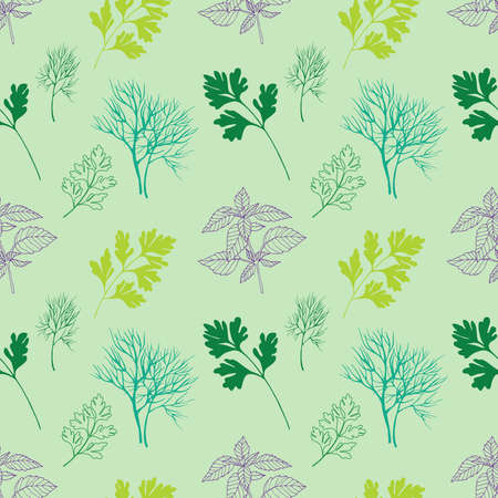 healing: Vegetable seamless pattern with dill, basil and parsley isolated in hand drawn sketch style on green background
