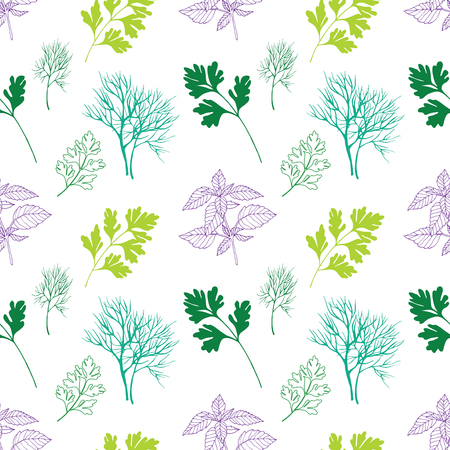 healing: Vegetable seamless pattern with dill, basil and parsley isolated in hand drawn sketch style on white background