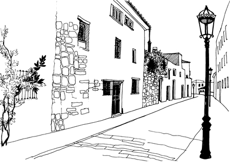 Old city street ink line sketch. Hand drawn vector illustration on white background