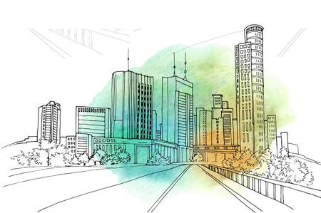 Urban modern landscape. Hand drawn line sketch on background watercolor. Vector illustration