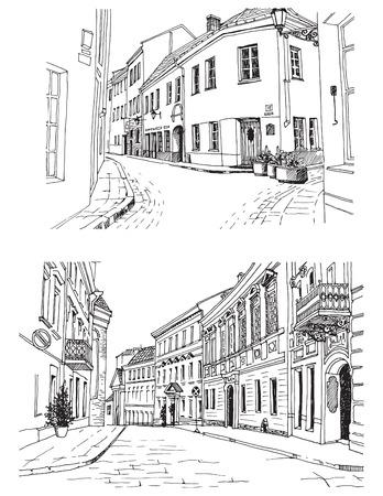 Stedelijke landschappen in hand getrokken inktlijnstijl. De oude schetsen van de stadsstraat op witte achtergrond. Litouwen, Vilnius. Vector illustratie Stock Illustratie