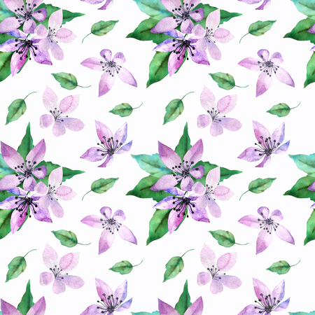 Floral seamless pattern with spring flowers and leaves on white