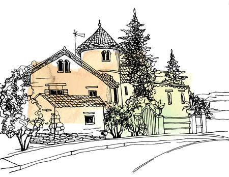 Old street in European city in hand drawn sketch style. Vetores