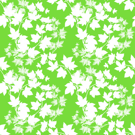 Floral seamless pattern with ivy branch in hand drawn sketch style on green background