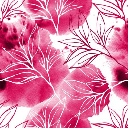 Aquarelle et motif floral. Fond grunge sur blanc