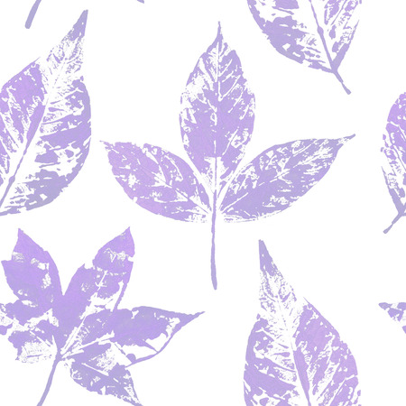 Purple leaf seamless pattern on white background. Leaf print with gold acrylic paint. Holiday decoration in style grunge.