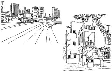 White city Tel Aviv, romantic urban landscape, bauhaus style. Modern Tel Aviv. Ink line sketch. Hand drawing. Vector illustration on white background.