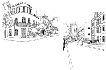 Ciudad blanca de Tel Aviv, romántico paisaje urbano, estilo bauhaus. Dibujo de línea de tinta. Dibujo a mano. Ilustración vectorial sobre fondo blanco.