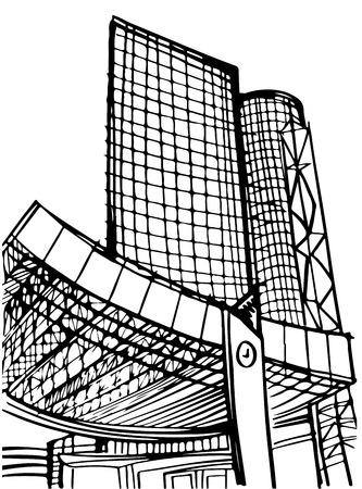 Modern urban industrial landscape. Hand drawn line sketch. Tel Aviv, Israel. Vector illustration on whit Illustration