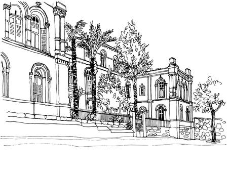 Old street of Jerusalem. Urban sketch