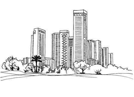 Modern urban landscapes. Hand drawn line sketches. Tel Aviv, Israel. Vector illustration on white Vektoros illusztráció