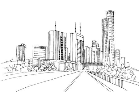 Paesaggi urbani moderni. Schizzi di linea disegnati a mano. Tel Aviv, Israele. Illustrazione vettoriale su bianco