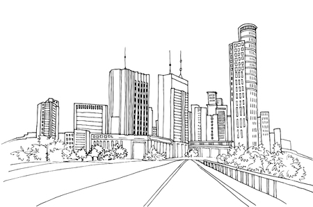 Modern urban landscapes. Hand drawn line sketches. Tel Aviv, Israel. Vector illustration on white