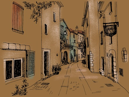 Old town street Colorful illustration. Small European city. Provence. France. Urban landscape on craft background Banque d'images - 124428380