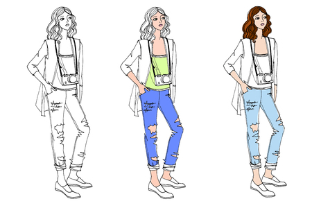 Cute fashion girls in hand drawn sketch style. One person in clothes of different colors. Fashion vector illustration on white Illustration