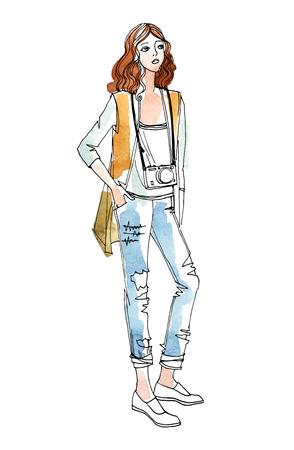 Linda chica de viaje con bolso en estilo boceto dibujado a mano. Ilustración de vector de moda sobre fondo de acuarela Ilustración de vector