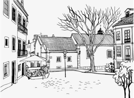 Vista romántica de la plaza vieja con las casas antiguas. Ciudad europea antigua. Bosquejo del paisaje urbano. Estilo dibujado a mano. Arte lineal. Ilustración de vector de blanco y negro sobre blanco. Ilustración de vector