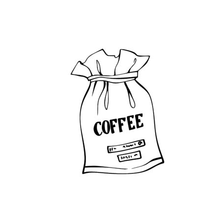 Coffee sack. Canvas bag with coffee beans. Isolated on white. Traditional coffe package. Hand drawn style. Line art sketh. vector illustration