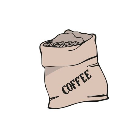 Coffee sack. Canvas bag with coffee beans. Isolated on white. Traditional coffe package. Hand drawn style. Line art sketh. Colorful vector illustration