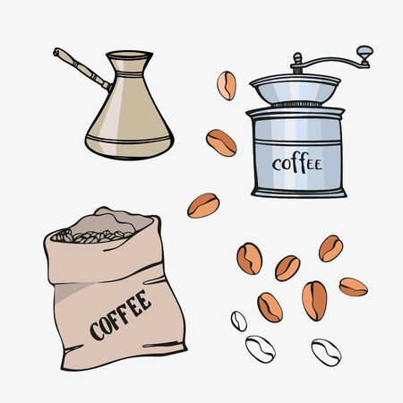 Set with Coffee mill, pot, bag and coffee beans. Hand drawn style. Colorful sketch. Vector illustration on white background. Çizim