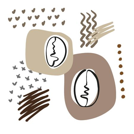 Stylized coffee bean in hand drawn sketch style on background abstract. Vector illustration  イラスト・ベクター素材