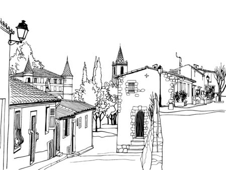 Old street in romantic Provence, France. Urban background in hand drawn sketch style. Ink line drawing. Black and white Vector illustration on white