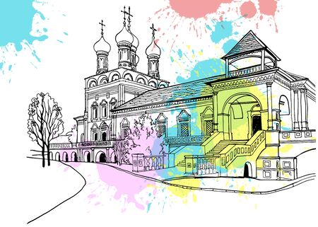 Nice view of the center of old Moscow. Urban landscape with the old church. Hand drawn line art. Black and white vector illustration on colorful blobs background.
