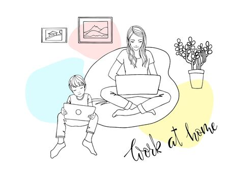 Mom with laptop and child with tablet working at home because of quarantine. Girl sitting in a chair with a laptop. Freelancer works from home. The danger of coronavirus. Everyone should stay home  イラスト・ベクター素材