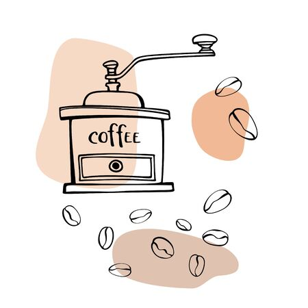 Grinder and coffee beans. Hand drawn line art sketch. Black and white vector illustration on colorful blobs background. Illustration