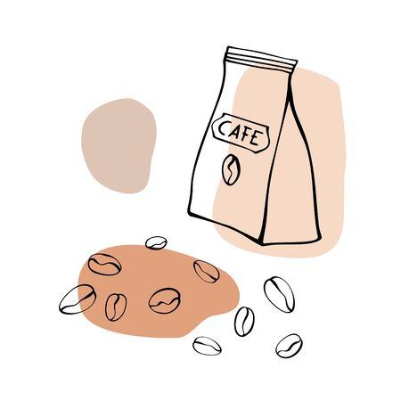 Paper bags with coffee beans. Hand drawn line art sketch. Black and white vector illustration on colorful blobs background
