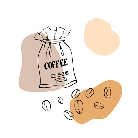 Coffee sacks and coffee beans. Canvas bags with coffee beans. Isolated on white. Traditional coffee package. Hand drawn style. Line art sketch. Vector illustration on blobs background
