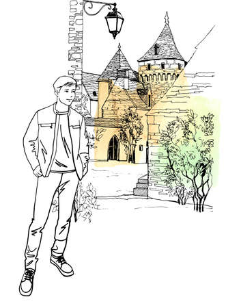 Young man, dressing in casual.style. Full-length figure of a man. Urban sketch background. Old France cityscape. Hand drawn sketch. Isolated. Vector illustration. Ilustração