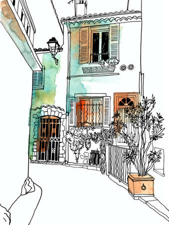 Old street of romantic Provence, France. Lovely landscape in hand drawn sketch style. Line art. Wall decor. Vector illustration on background watercolor