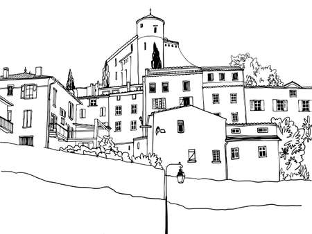 The ancient city on the hill of Provence. Fortress at the Top. Hand drawn sketch style. Urban background. Vector illustration on white background