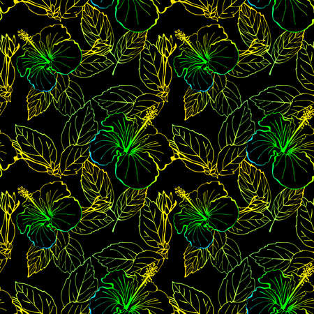Hibiscus flower seamless pattern. Hand drawn sketch style. Line art. Mallow Chinese Rose. Herbal tea. Hawaii. Tropical background for paper, textile, wrapping and wallpaper. Zdjęcie Seryjne
