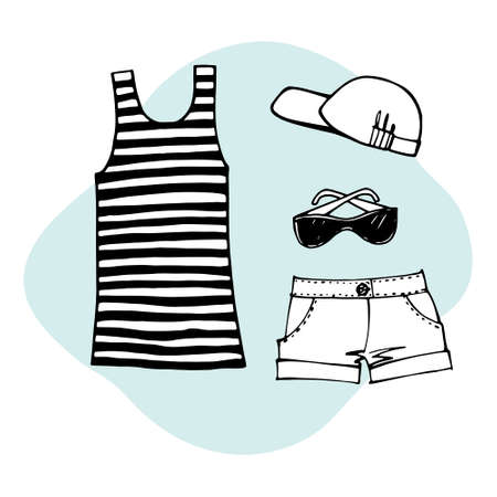 Most popular clothing on vacation. Summer beach set. Striped sleeveless tank top, sun hat, sunglasses, slippers, swimsuit and summer shorts. Hand drawn sketch. Line art. Vector illustration on white. Ilustracja