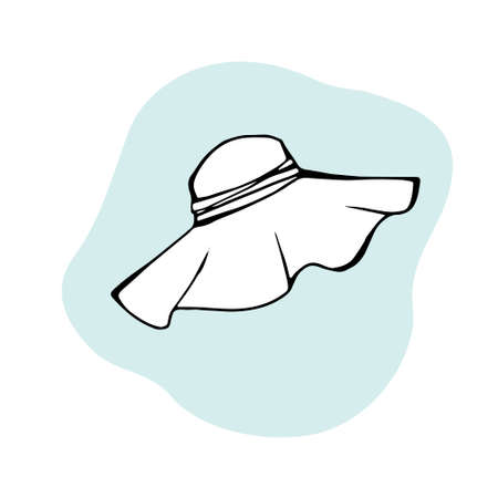 Ladies summer sun hat as design element. Straw hat. Hand drawn sketch style. Sun hat isolated on white.