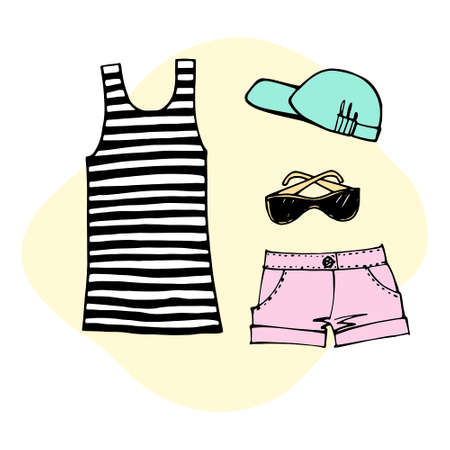 Summer beach set. Design elements. Most popular clothing on vacation. Hand drawn sketch. Line. Colorful Vector illustration isolated on white Ilustracja