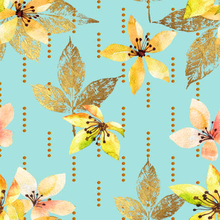 Floral seamless pattern with abstract leaves and flowers watercolor. Art illustration in hand painting style. Nature background.
