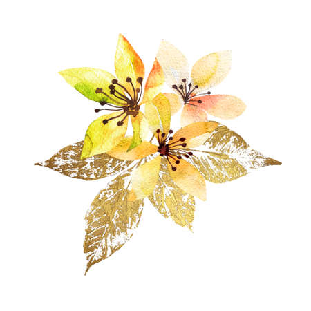 Bouquet flowers watercolor with leaves gold. Hand drawn style watercolor. Nice summer background.