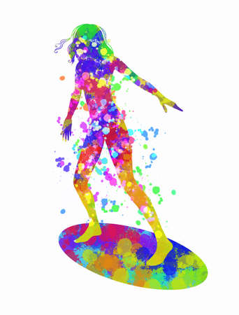Girl surfer on a surfboard. Colorful digital splash and blobs texture. Hand drawn sketch. Vector illustration.