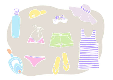 Most popular clothing on vacation. Summer beach set. Striped sleeveless tank top, sun hat, sunglasses, slippers, swimsuit and summer shorts. Hand drawn sketch. Colorful Vector illustration on white.