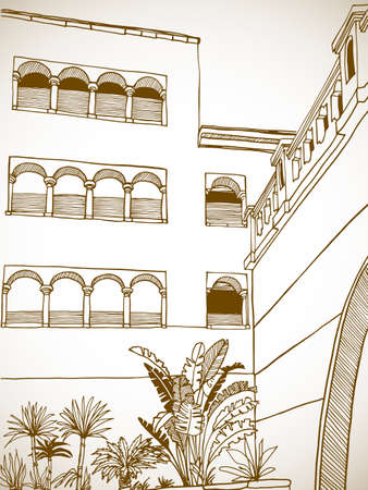 Beautiful Egypt landscape with palm trees. Hand drawn line ink sketch. Seaside holiday. Sepia Illustration on white.