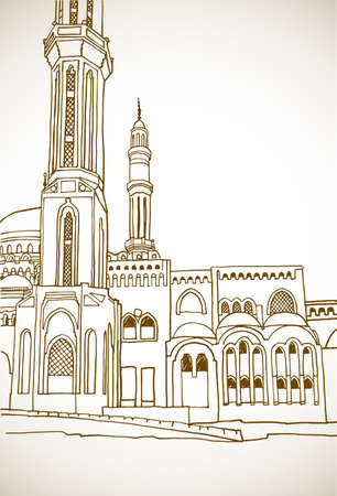 Beautiful muslim mosque in Egypt. Nice Egyptian landscape. Hand drawn sketch. Sepia color Urban background. Vintage postcards style. Ilustracja